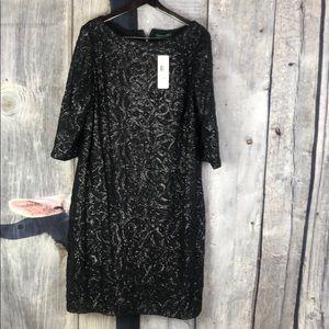 NWT Ralph Lauren Black Sequin Party Dress Sz 20 W